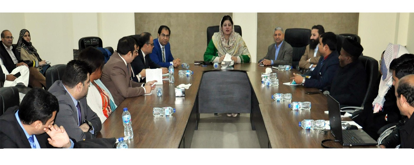 Muzaffarabad: Secretary Information, Tourism & IT Midhat Shehzad gives briefing to a delegation of foreign diplomats in AJ&K.