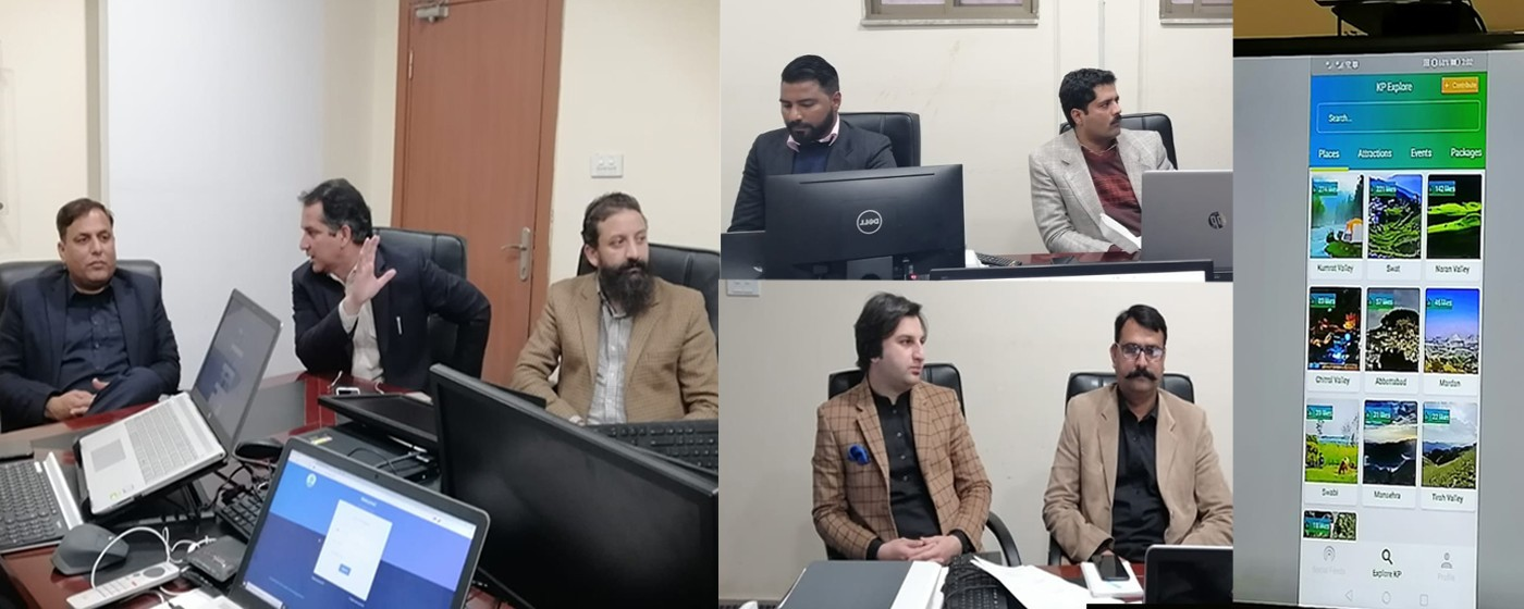 Muzaffarabad: Minister IT Dr. Mustafa Bashir takes briefing from DG IT along with the staff on E-Office, IMS for Home dept. CMS for police, Tourism Guest Houses Revenue Management , Tourism Booking  Application.